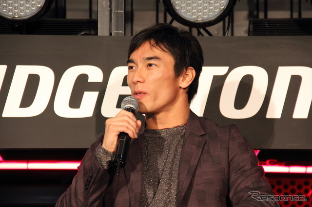 Takuma Sato appeared this year at Tokyo Auto Salon (photo last year talk show)