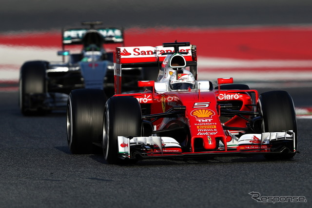 Vettel set the fastest time in the 2016 Barcelona F1 Test
