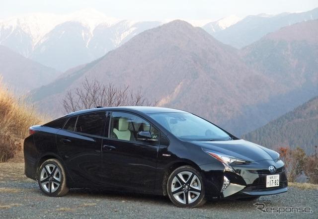 Front view of the all-new Toyota Prius (A Premium Touring Selection) Photo taken at Shimoguri Village