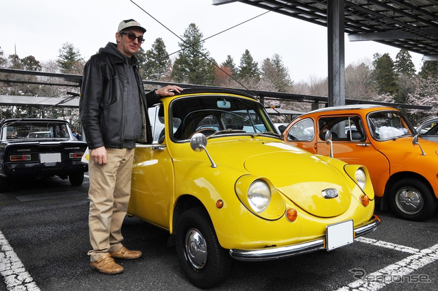 1968 covered 13000 km to Budapest from Tokyo that Imre's expression Subaru 360 and the owner.