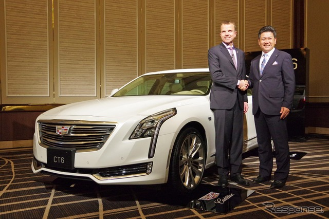 Cadillac CT6 Uwe Kiyoshi who President of GM Japan stone (pictured right) and Cadillac, ellinghaus CMO (pictured left)