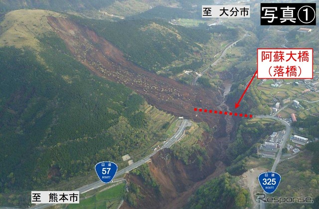 National Highway No. 325 ASO bridge which collapsed in the earthquake