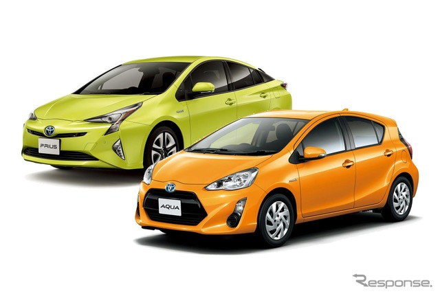 The Toyota Aqua (front) and Prius (back)