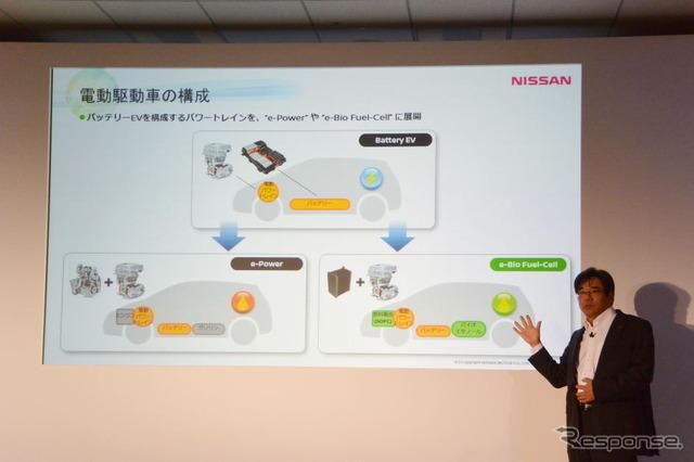 Nissan car e-Bio Fuel-Cell technology briefing