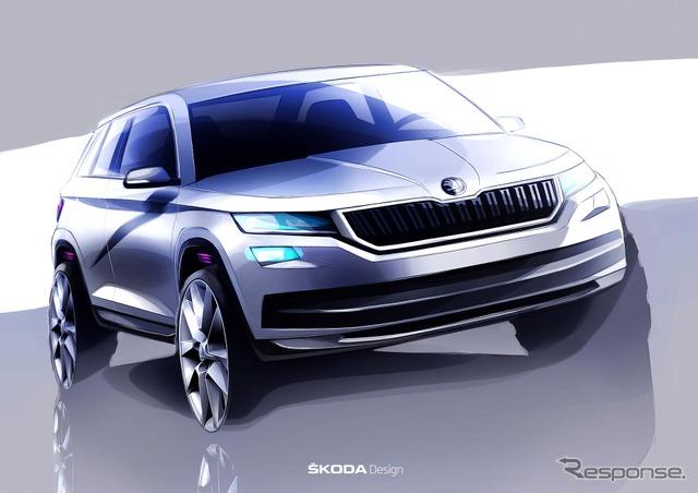 Sketches of Skoda's new SUV, the Kodiak