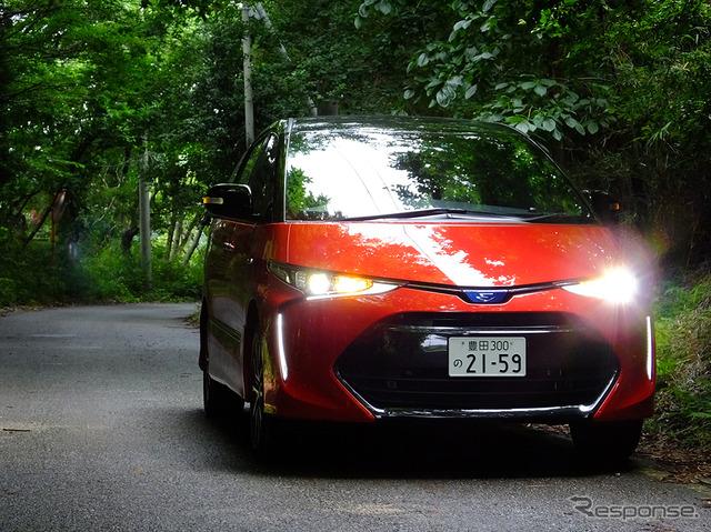 "Toyota Estima Hybrid photo grade ""AERAS SMART' electric 4-wheel drive system (e-four) / black × redmicametallick / white faux leather"