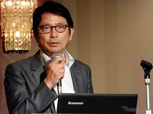 "Among telematics design presented the car radio ""Amanek channel"" Imai Takeshi CEO (7/15, Hanzomon, Tokyo)"