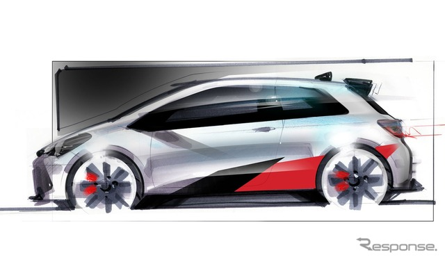 Teaser sketch of high-performance Toyota Yaris