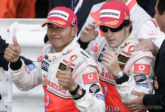F1 Monte Carlo: Winner Fernando Alonso (right) with Vodafone McLaren Mercedes team mate Lewis Hamilton (second)