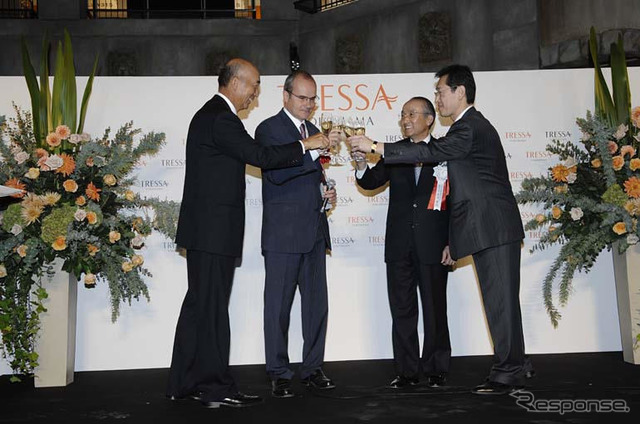 Drink to Tressa Yokohama opened the toast wine From left, goto Chuji-President of the central sports, Christophe pin Minister of the French Embassy, Toyota President Watanabe, トヨタオートモールクリ affiliate