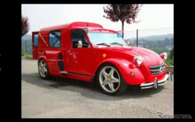 "Crazy custom cars put the Citroën ""2CV"" body Ferrari 'F355' chassis 'NIMIK2CV'"