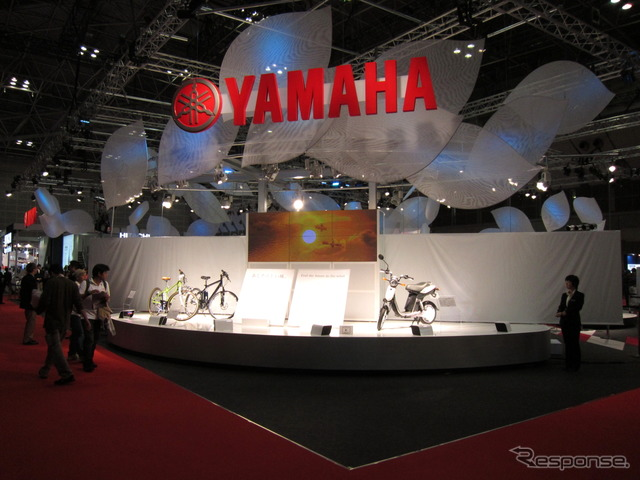 Located at the entrance to the Yamaha electric mobility