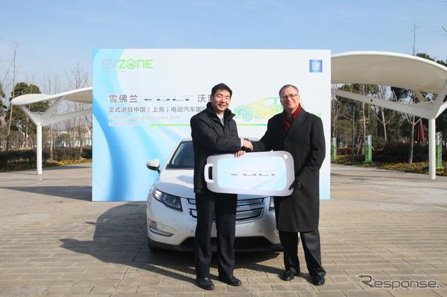 เชฟโรเลตโวลต์ถูกนำเสนอผ่านโครงการขนาดใหญ่สาธิต EV ทำใน Shanghai, China