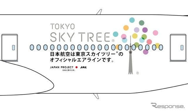 "JAL × Tokyo スカイツリージェット logo---various ""things"" we are born from the new Tower or express a feeling people gather there, ""Koto"" was thrilled with colorful dots Tower SIL �"