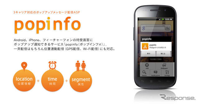 "Smartphone push notification service ""ポップインフォ"""