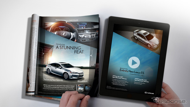 United States advertising of the new Lexus ES that work with iPad