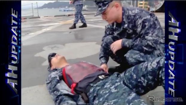 USS Denver injured rescue drill (video capture)