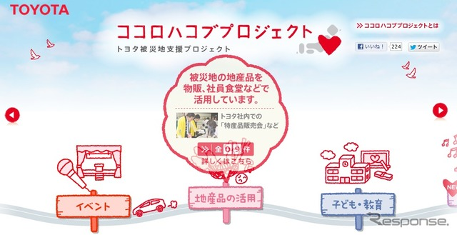 Toyota Motor, the ココロハコブ project homepage