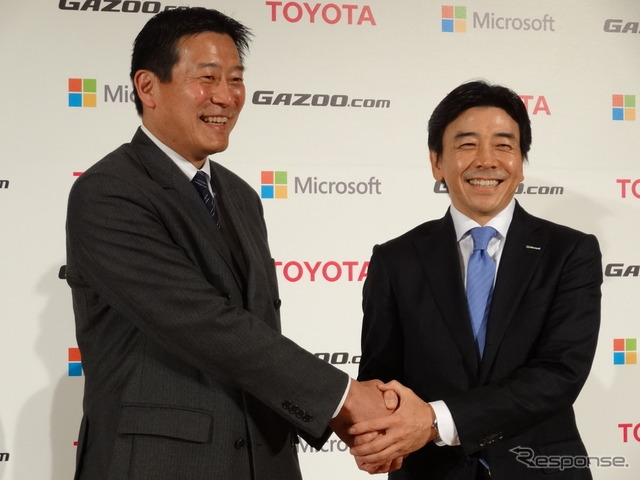 Obara said Toyota's Yamada said Microsoft shaking hands firmly over the service enhancements