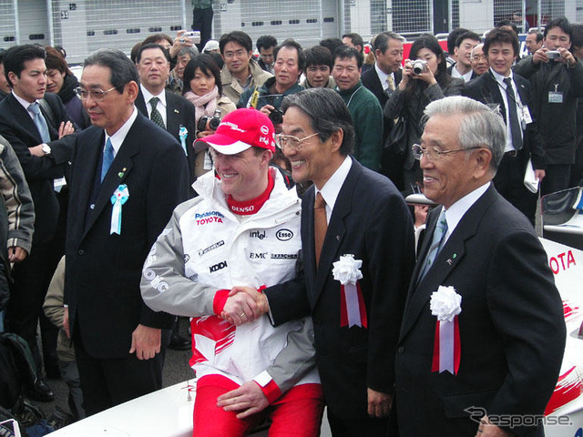 Nakamura Kunio President of Matsushita, President of Fuji Speedway, R. Schumacher Shimada Hisamitsu, Toyoda Shoichiro Honorary Chairman of Toyota Motor Corporation