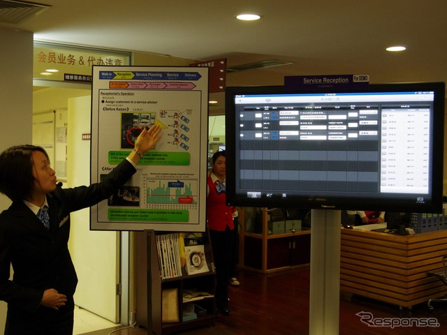 By exchanging information on a tablet at next-generation e-CRB can say information transmission from the reception counter of service to a technician came and quickly
