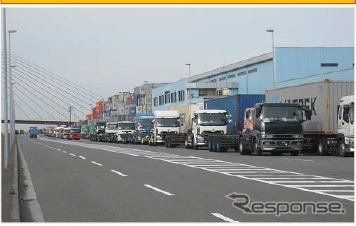 Ministry of land, infrastructure and transport, the port of Yokohama in experiment of container delivery on appointment