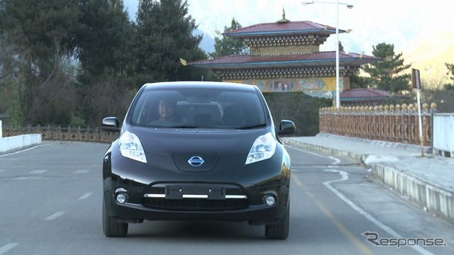 Nissan leaf in the Bhutanese capital Thimphu ( )