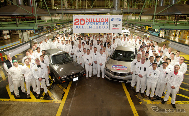 Car production United States accord (left) and United States production 10 million first of the accord