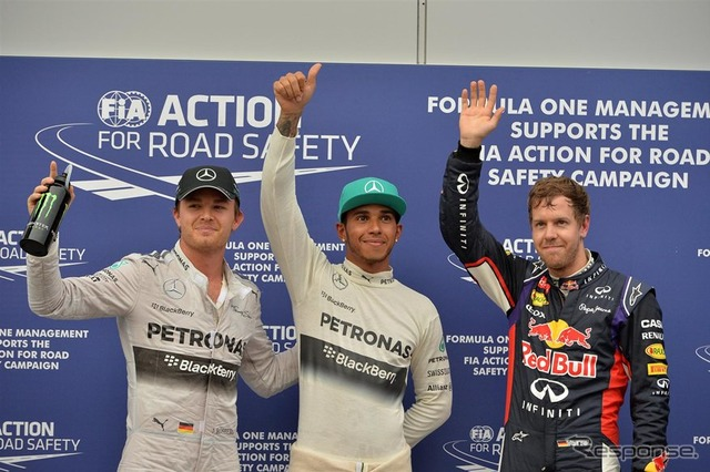 Nico Rosberg (3rd place) and Lewis Hamilton (# 1), Sebastian Vettel (2 place) from the top three after qualifying, left