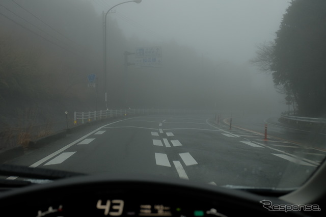 Dense fog Hakone pass Good visibility and lane departure warning and comfortable thanks to the various safety equipment