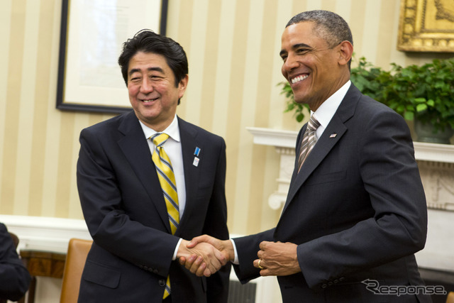 President Barack and Japanese Prime Minister Shinzo Abe ( 2/2013 Washington DC )