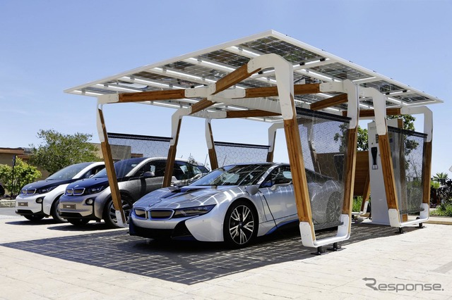 BMW i dedicated brand solar panels with carport