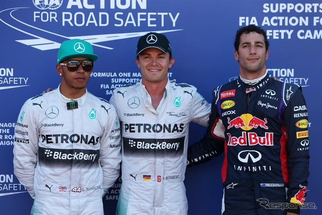 Monaco Grand Prix – qualifying top 3 ( left than Lewis Hamilton, Nico Rosberg, Daniel ricciardo )
