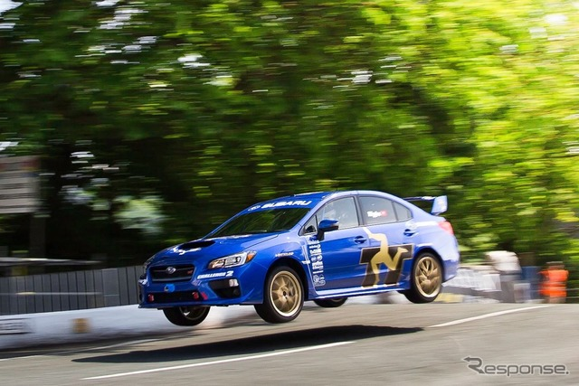The all-new Subaru WRX STI records the fastest lap at the Isle of Man TT course