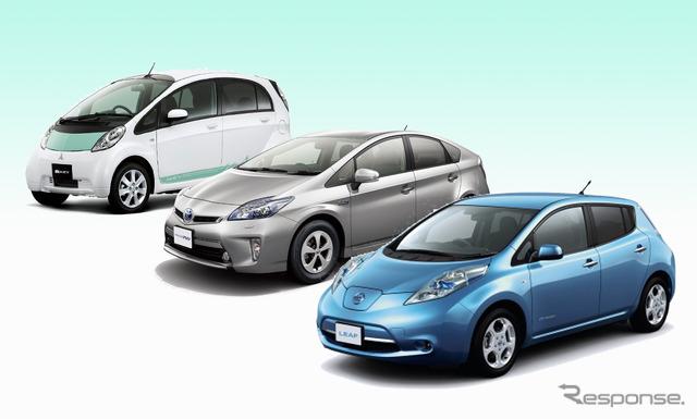 Mitsubishi I-miev, Prius PHV, Nissan leaf