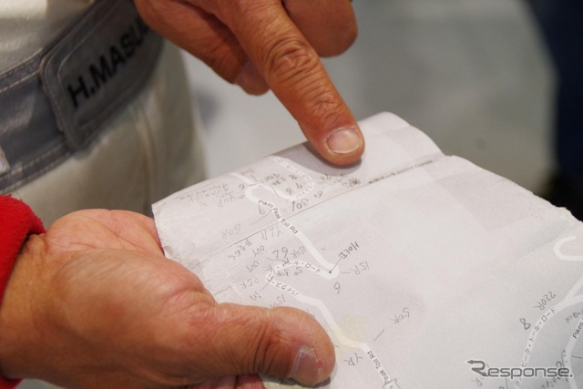 Mitsubishi driver Masuoka created the scroll for course simulation and unbelievably the key to victory