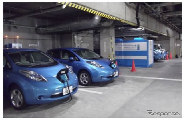 Osaka Business Park in PHV and EV battery power supply system demonstration project