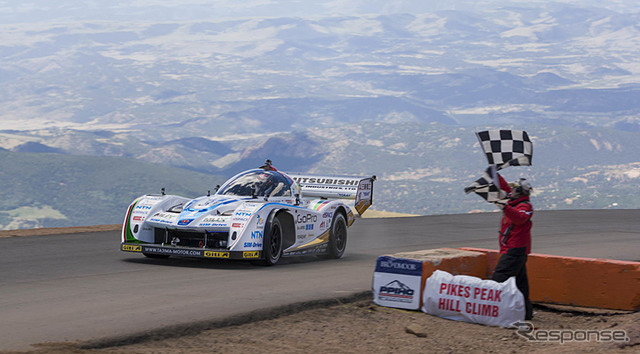 Crossing the finish line at the 2014 Pikes Peak International Hill Climb