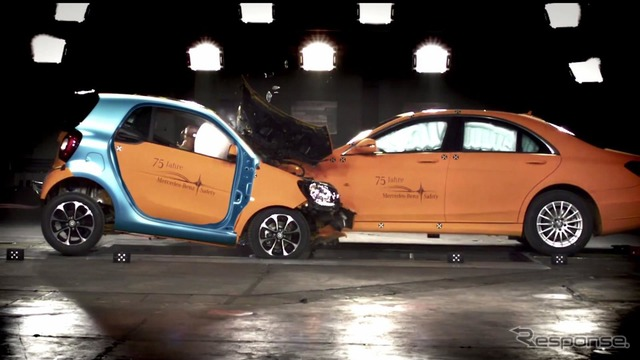 New smart fortwo and the Mercedes S class crash test