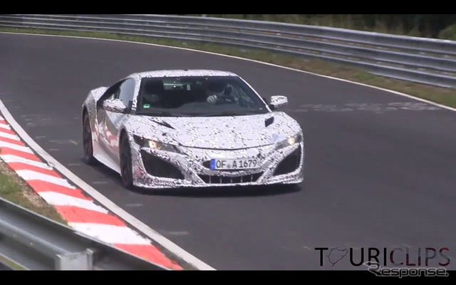 Scene of the next generation Honda NSX testing at Nurburgring (courtesy of Youtube)