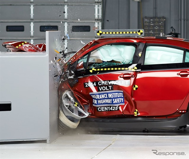 Et us IIHS small over the Chevrolet Volt l wrap crash tests