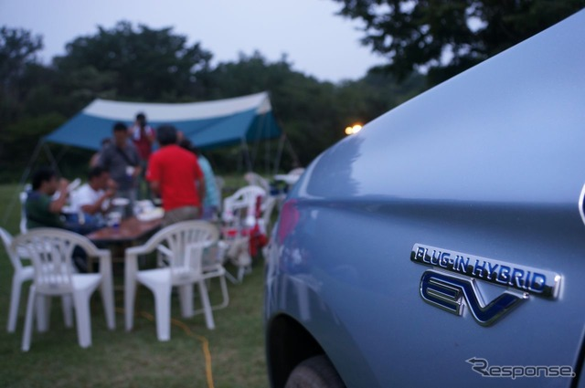 You can also enjoy a barbecue using a hotplate utilizing the Outlander PHEV's power source
