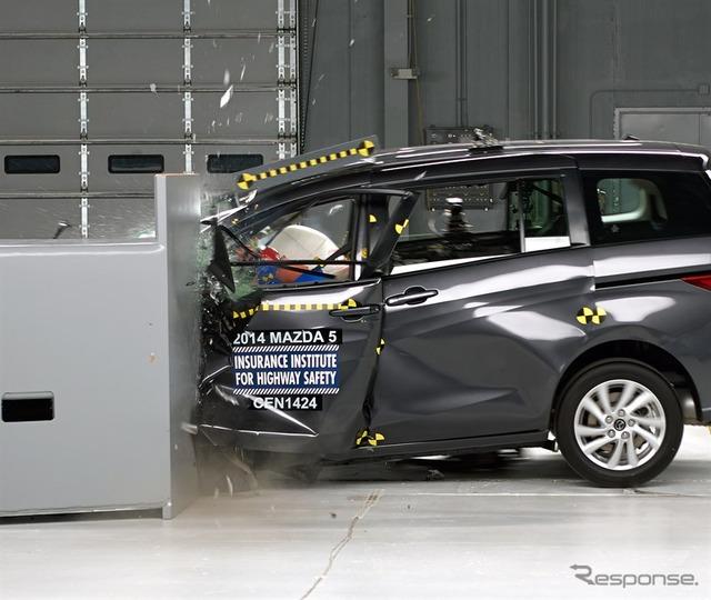 IIHS small overlap crash test Mazda Mazda5