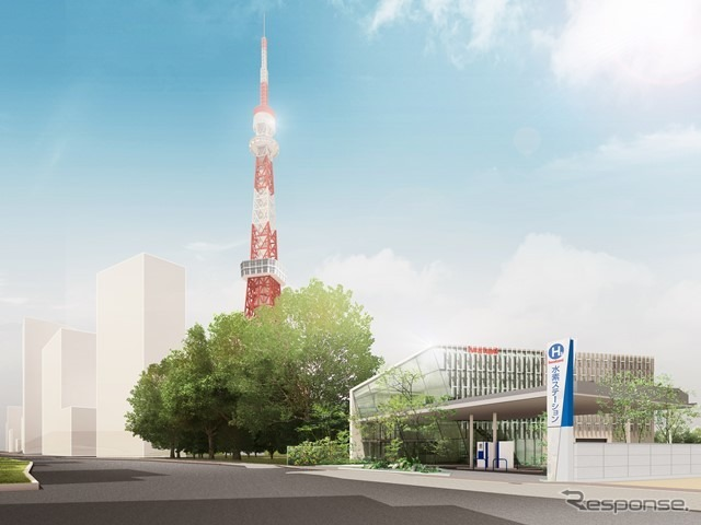 Established Iwatani, Tokyo Tower just below the hydrogen station