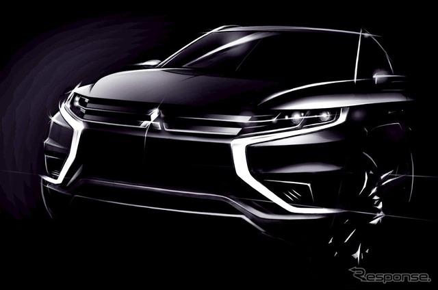 Teaser sketch of the Mitsubishi Outlander PHEV Concept-S