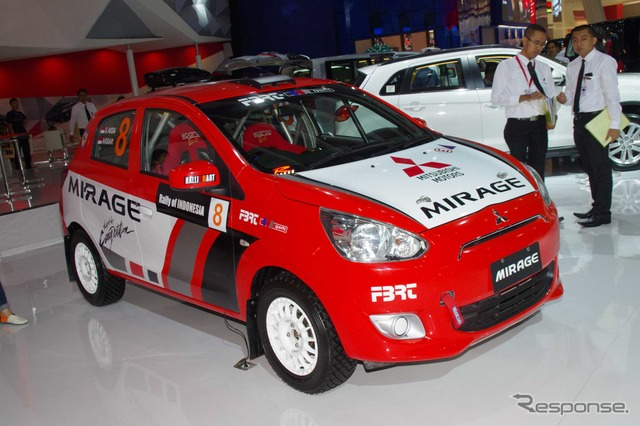 Mitsubishi Mirage with rally specs at 2014 Jakarta Motor Show