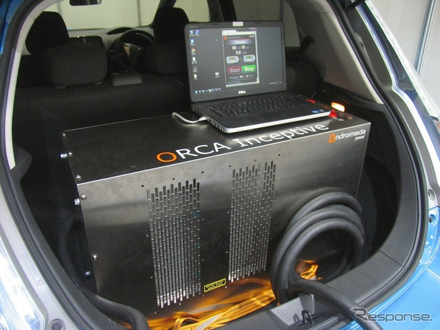 Rapid charger with ORCA Inseptive mounted in the trunk of a Nissan leaf