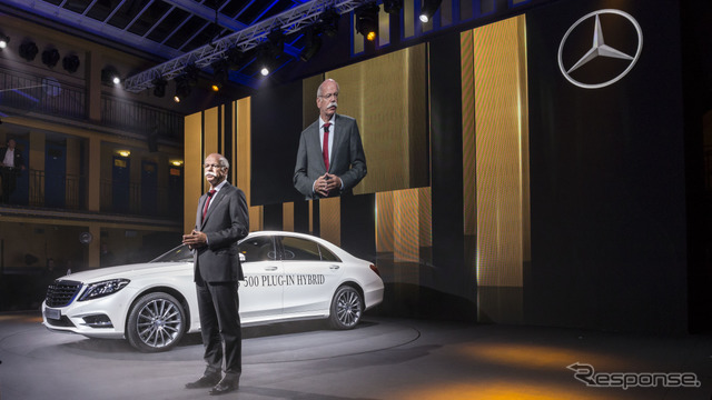 Plug-in hybrid car of the new Mercedes-Benz S-class S500 plug-in hybrid and Daimler AG's Dieter Zetsche Chairman (14 at the Paris Motor Show)