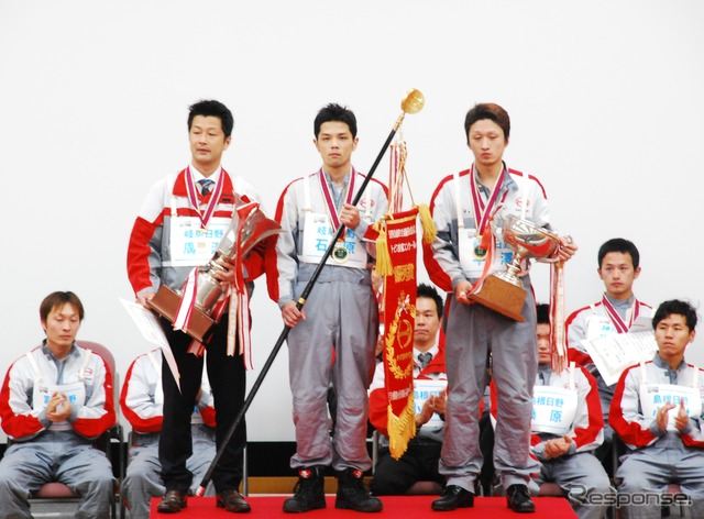 Gifu Hino team scored an overall victory in the Hino sales company service technology competition