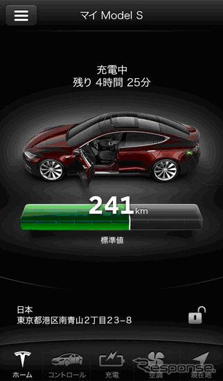 Free app for smartphones managing and manipulating the Tesla model S